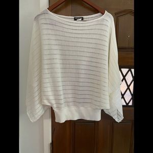 White crop bell sleeve sweater